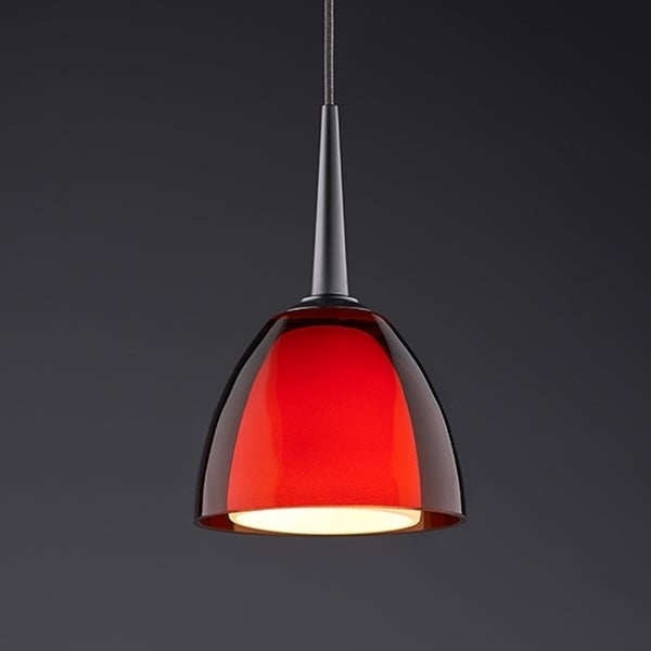 Bruck Lighting Rainbow 1 Matte Chrome LED Pendant with Red Artisan Glass - Silver