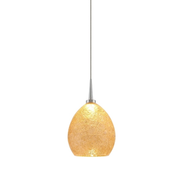 Bruck Lighting Vibe Matte Chrome LED Pendant with Champagne Artisan Glass - Silver