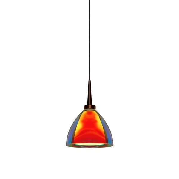 Bruck Lighting Rainbow 2 Bronze LED Pendant with Sunrise Artisan Glass