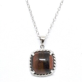 Sterling Silver Domed Tiger Eye Rope Pendant Necklace - Brown