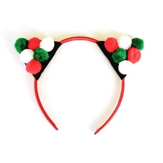 Holiday Pom Pom Cat Ear Headband