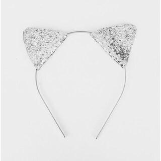 Glitter Silver Cat Ear Headband