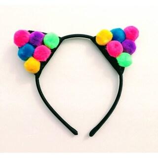 Dark Pink Multicolor Pom Pom Cat Ear Headband