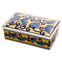 Rectangular Collectibles Box With Floral Design
