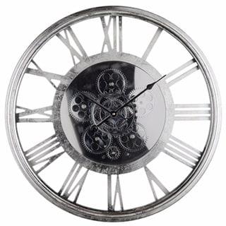 Minimalist Sleek Clock, Metallic Gray - metallic gray