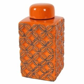 Bright Orange handcrafted Lidded Jar