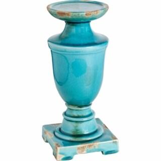 Pillar styled glass shaped Cora Candle Holder, Turquoise, Short
