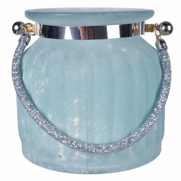 Blue Frosted Vase with Sparkling Handle