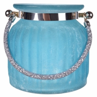 Beguiling Blue Frosted Vase With Handle.