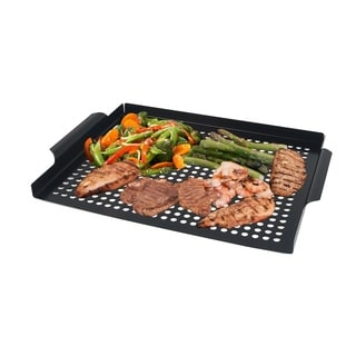 Arctic Monsoon BBQ Grilling Grid Non-stick Coated Tropper Pan, Thick Gauge Stainless Steel Material, Black