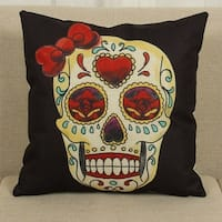 Cotton Linen Throw Pillow Cover  Cushion Cover Bow Skull 18x18 - Black/Yellow/Red