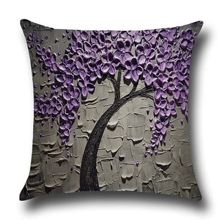 Cotton Linen Throw Pillow Cover  Cushion Cover Purple Jasmine Tree 18x18