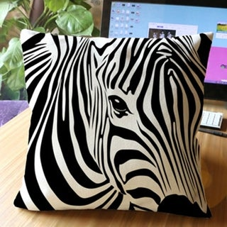 Cotton Linen Throw Pillow Cover  Cushion Cover Zebra Themed 18x18