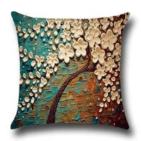 Jasmine Tree Cotton Linen Throw Pillow 18 Inch
