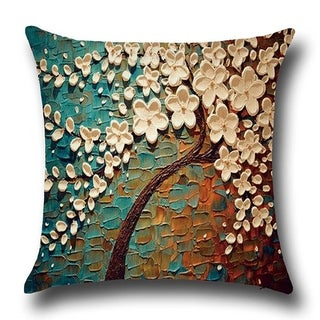 Beau Cotton Linen Throw Pillow Cover Cushion Cover Blue White Jasmine Tree 18x18