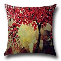 Cotton Linen Throw Pillow Cover  Cushion Cover Yellow Red Flower Tree 18x18