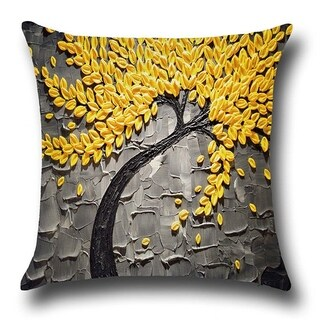 Cotton Linen Throw Pillow Cover Cushion Cover Yellow Leaf 18x18