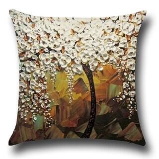Yellow White Jasmine Tree Cotton Linen Throw Pillow Cover 18 Inch - gray