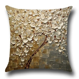 cotton linen throw pillow cover cushion cover gold silver jasmine tree 18x18