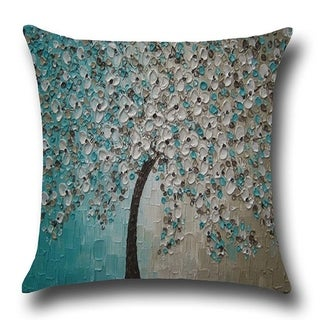 Cotton Linen Throw Pillow Cover  Cushion Cover Blue White Jasmine Tree 18x18