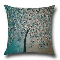 Cotton Linen Throw Pillow Cover  Cushion Cover Blue White Jasmine Tree 18x18 - Light Blue/Silver