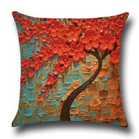 Cotton Linen Throw Pillow Cover  Cushion Cover Orange Red Jasmine Tree 18x18 - Blue