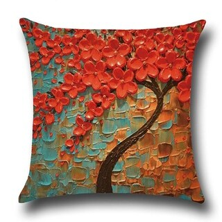 Cotton Linen Throw Pillow Cover Cushion Cover Orange Red Jasmine Tree 18x18