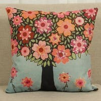 Cotton Linen Throw Pillow Cover  Cushion Cover Sunflower 18x18 - Blue/Green