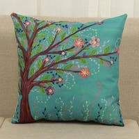 Cotton Linen Throw Pillow Cover  Cushion Cover Flowers And Grass 18x18 - Brown/Teal