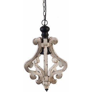 Perth Wooden Chandelier With Metal Chain And One Bulb Holder, White