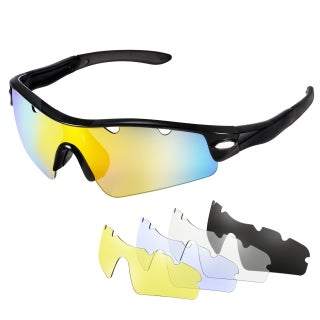 Cycling Sunglass with 5 Interchangeable Lenses (1 Polarized Sunglass and 4 Common Sunglasses), 100% UV400 Protection