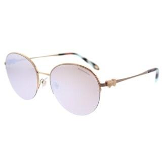 Tiffany & Co. Round TF 3053 610964 Womens Rubedo Frame White Mirror Lens Sunglasses
