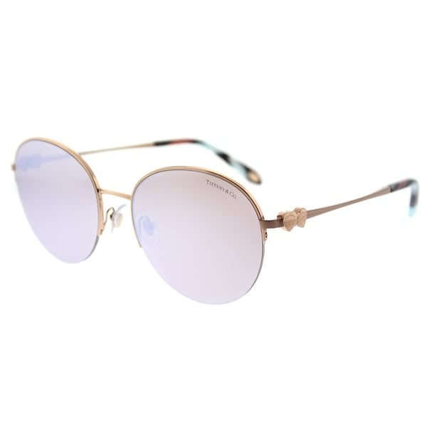 9dfe974e802c Tiffany  amp  Co. Round TF 3053 610964 Womens Rubedo Frame White Mirror  Lens Sunglasses