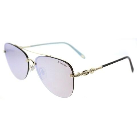 Tiffany & Co. Aviator TF 3054B 602164 Womens Pale Gold Frame White Mirror Lens Sunglasses