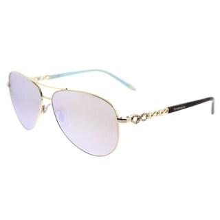 Tiffany & Co. Aviator TF 3049B 609164 Womens Pale Gold Frame White Mirror Lens Sunglasses