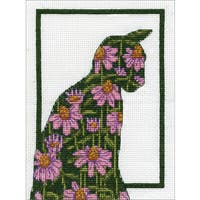 Floral Cat Counted Cross Stitch Kit