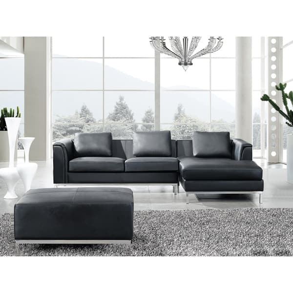 Beliani L-shaped Black Leather Sectional Sofa with Ottoman ...