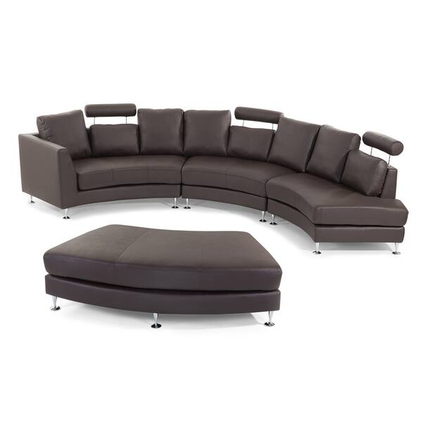 Shop Curved Sectional Sofa - Brown Leather ROTUNDE - On Sale ...