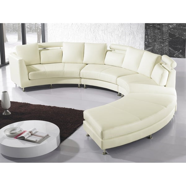 Curved Sofa Sectional Leather: Cream Leather ROTUNDE
