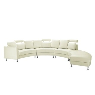 Curved Sectional Sofa Cream Leather ROTUNDE