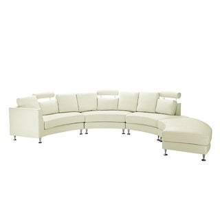 Beliani Cream Leather Curved Rotunde Sectional Sofa  sc 1 st  Overstock.com : beige leather sectional sofa - Sectionals, Sofas & Couches