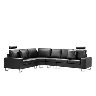 Leather Sectional Sofa   Black STOCKHOLM