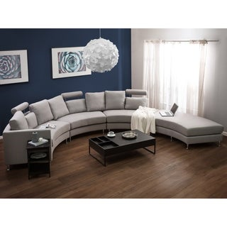 Curved Sectional Sofa   Light Gray Fabric ROTUNDE