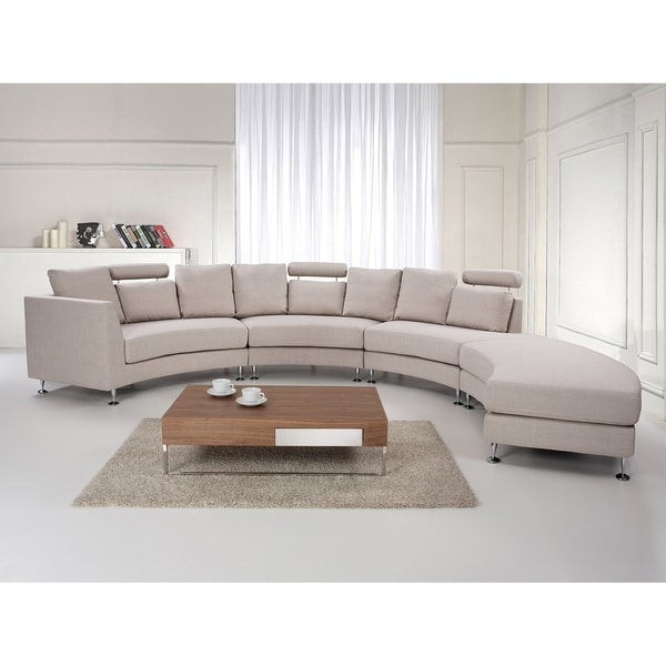Curved Sectional Sofa   Beige Fabric ROTUNDE