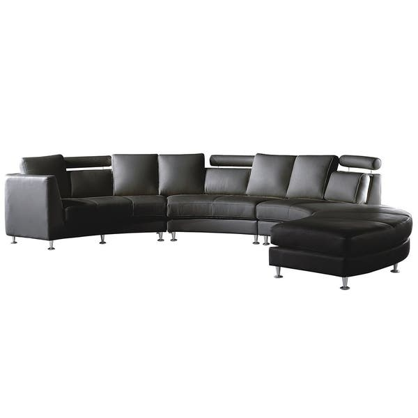 Shop Curved Sectional Sofa Black Leather ROTUNDE - Free ...