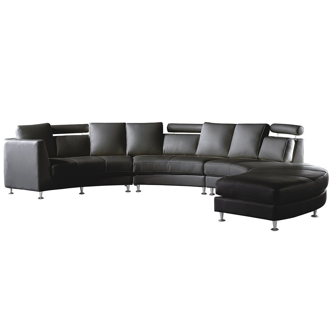 Curved Sectional Sofa - Black Leather Rotunde