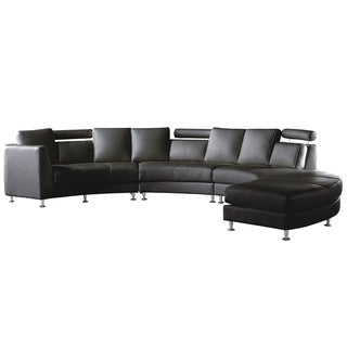 Ordinaire Curved Sectional Sofa   Black Leather ROTUNDE