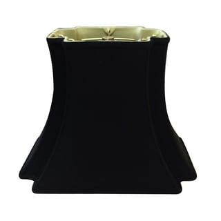 Royal Designs Rectangle Bell Inverted Corner Designer Lamp Shade, Black, (6 x 4) x (10 x 7) x 8.5