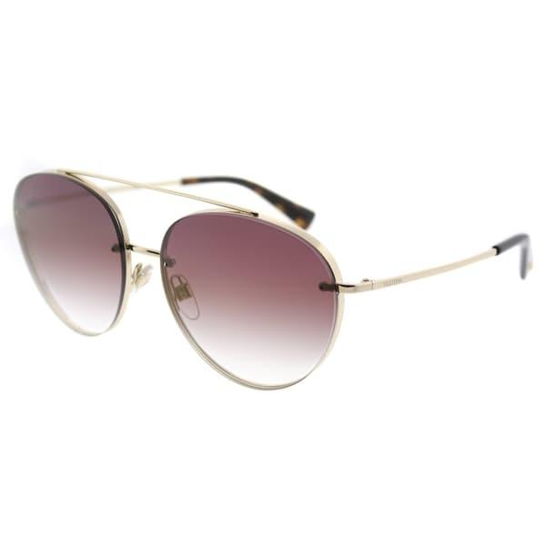 ea6dc1dedc0ab Valentino Pilot VA 2009 3003E7 Womens Light Gold Frame Gradient Pink Mirror  Lens Sunglasses