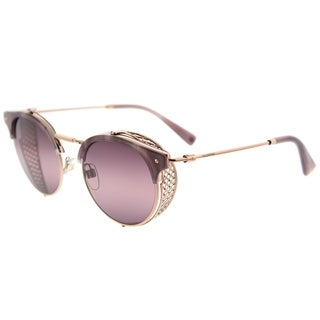 Valentino Round VA 2008Z 3004W9 Womens Shiny Rose Gold Frame Pink Bi-Gradient Purple Lens Sunglasses